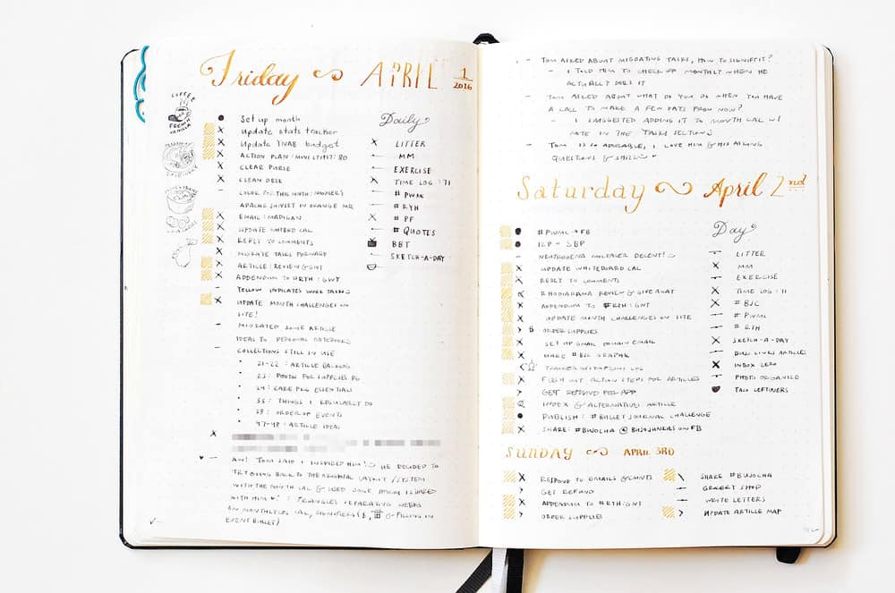 Daily log of bullet journal