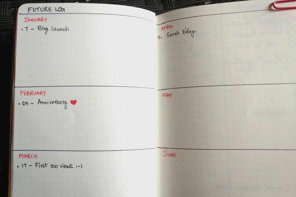 Future log of Bullet journal-how to start a bullet journal with no artistic skills