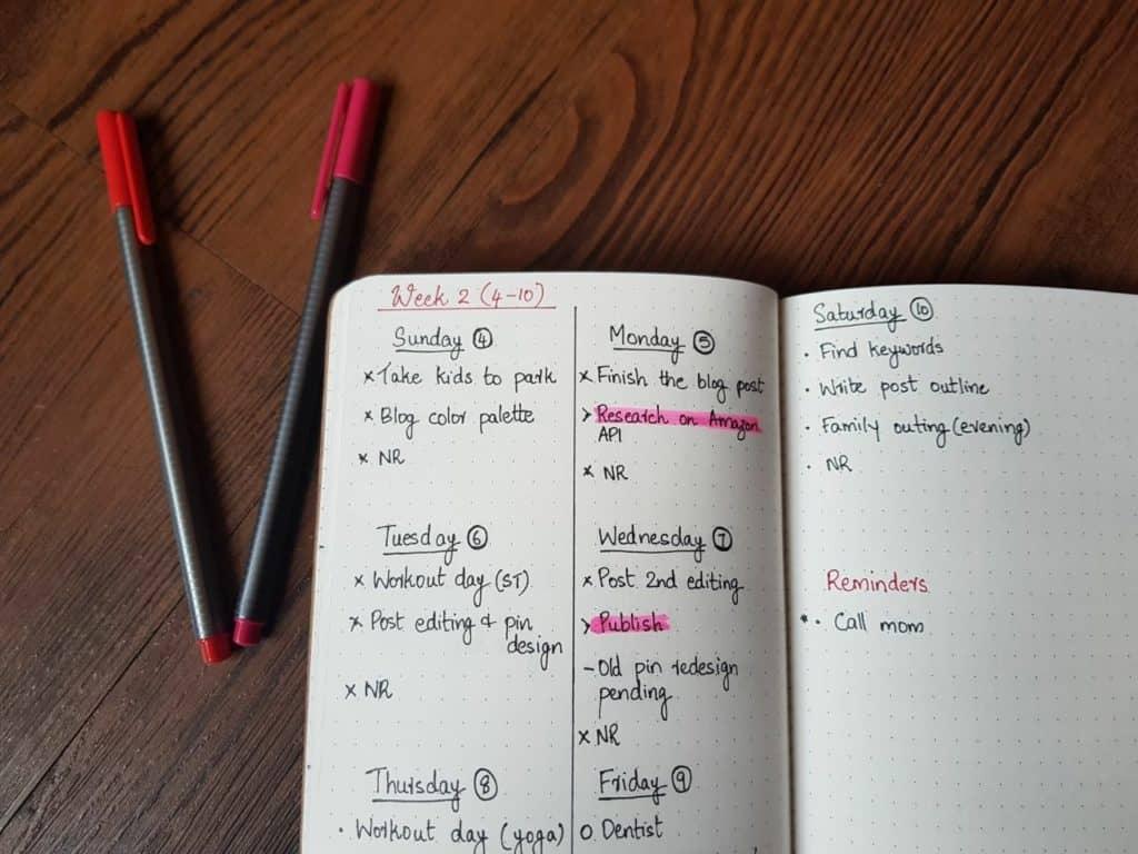 Weekly log/spread of bullet journal