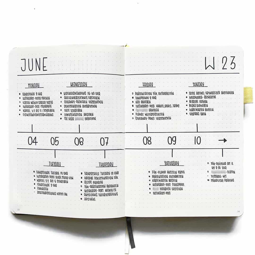 Have a look at these simple and minimalist bullet journal weekly spreads/layout for new ideas! #bulletjournal #bulletjournalweeklylog #bujo