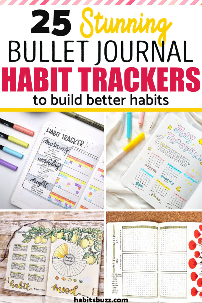 Creating trackers in a bullet journal is an excellent way to keep track of your habits and stay accountable. And bullet journal being a DIY planner, you can change your habit tracker layouts every month to add variety and kick out boredom. Here are some ideas to make beautiful bullet journal habit tracker layouts to build better habits. #habits #habittracker #bulletjournal #bujo