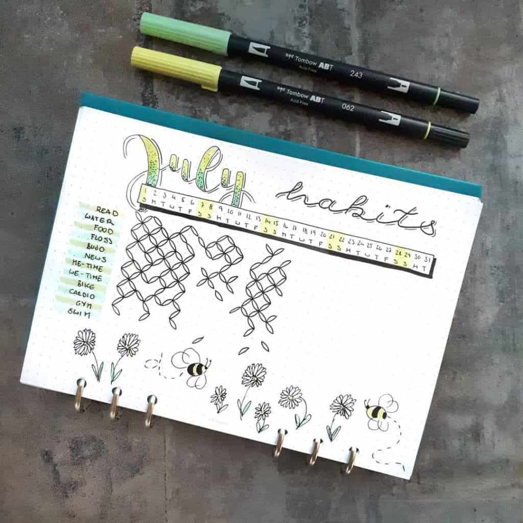 25 habit tracker ideas for your bullet journal #habits #bulletjournal #habittrackers
