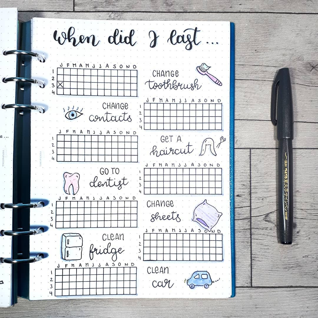 22 bullet journal cleaning trackers layout to keep your home squeaky clean- when did I last spread