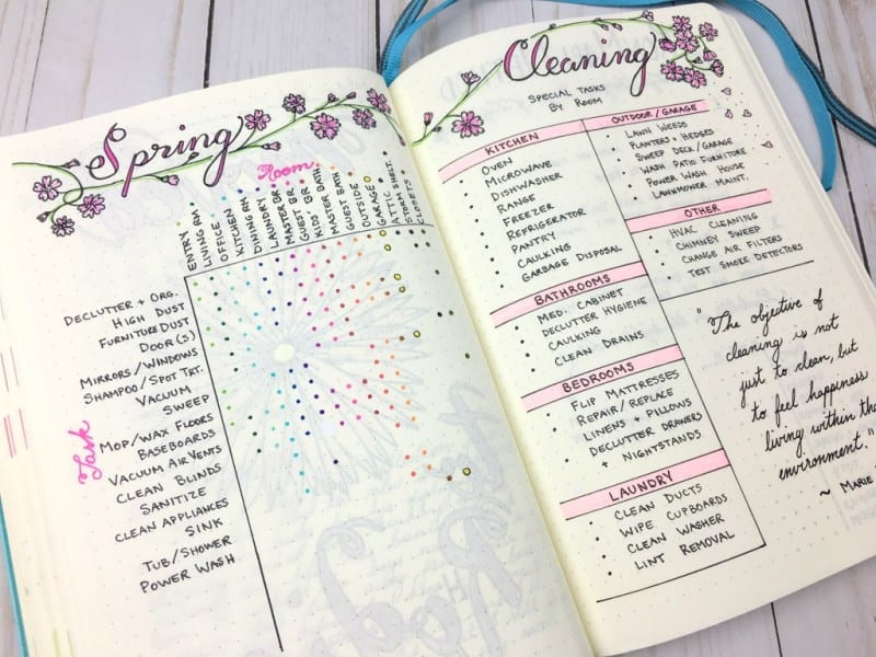 bullet journal spring cleaning schedule