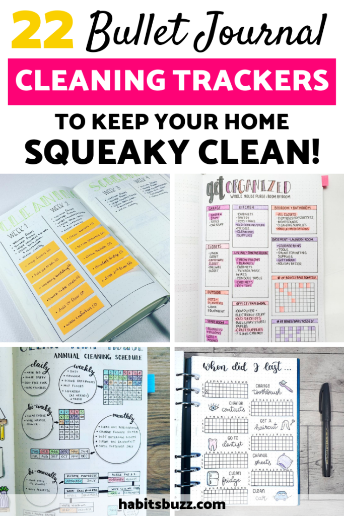 Do you want to create a cleaning schedule tracker in your bullet journal? Here is a collection of 22 bullet journal cleaning trackers that you can draw inspiration from, including Konmari method, Flylady, The Organised Mum Method, spring cleaning tracker etc.