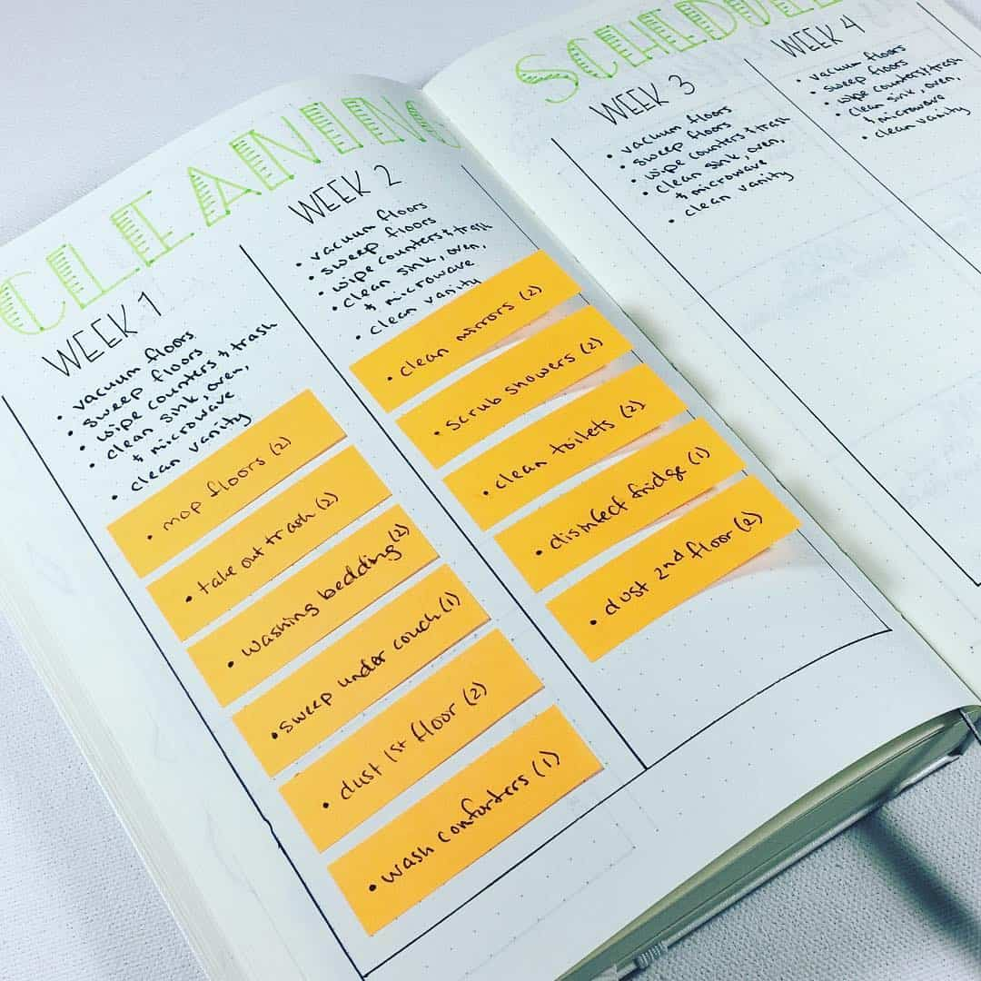 22 bullet journal cleaning trackers to keep our home squeaky clean