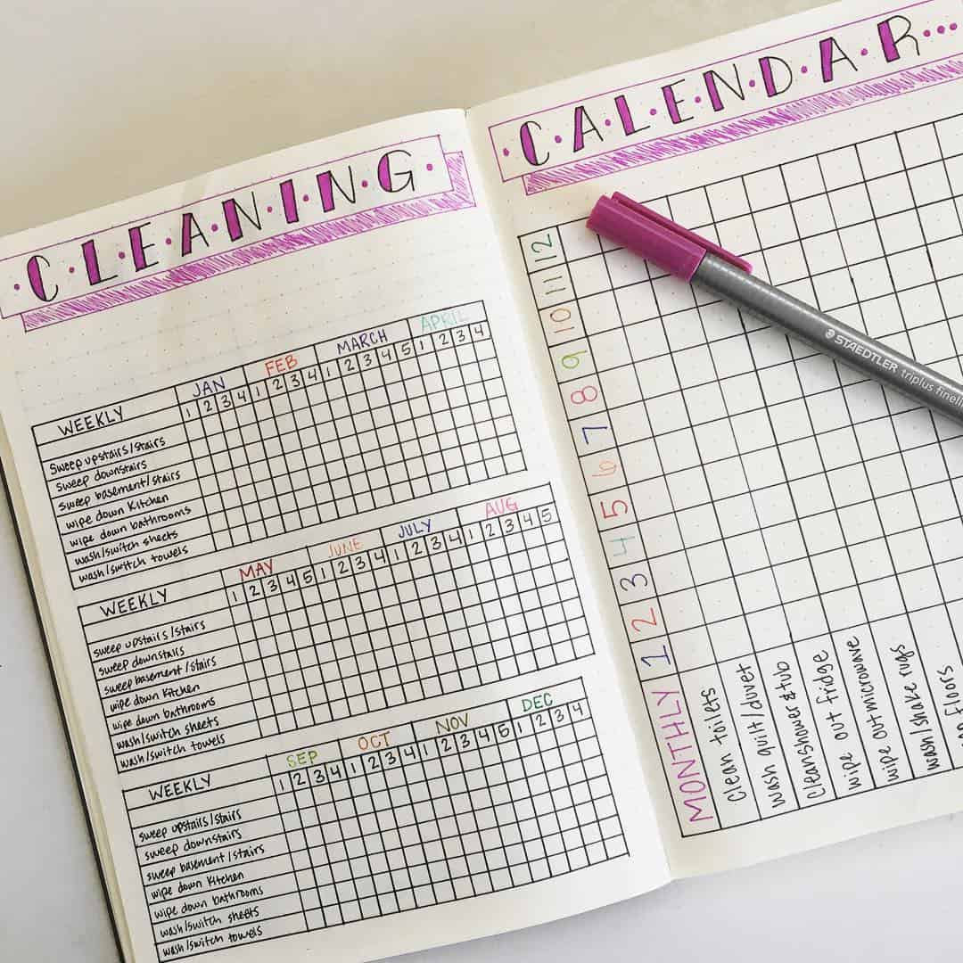 22 bullet journal cleaning routine tracker to keep your home squeaky clean