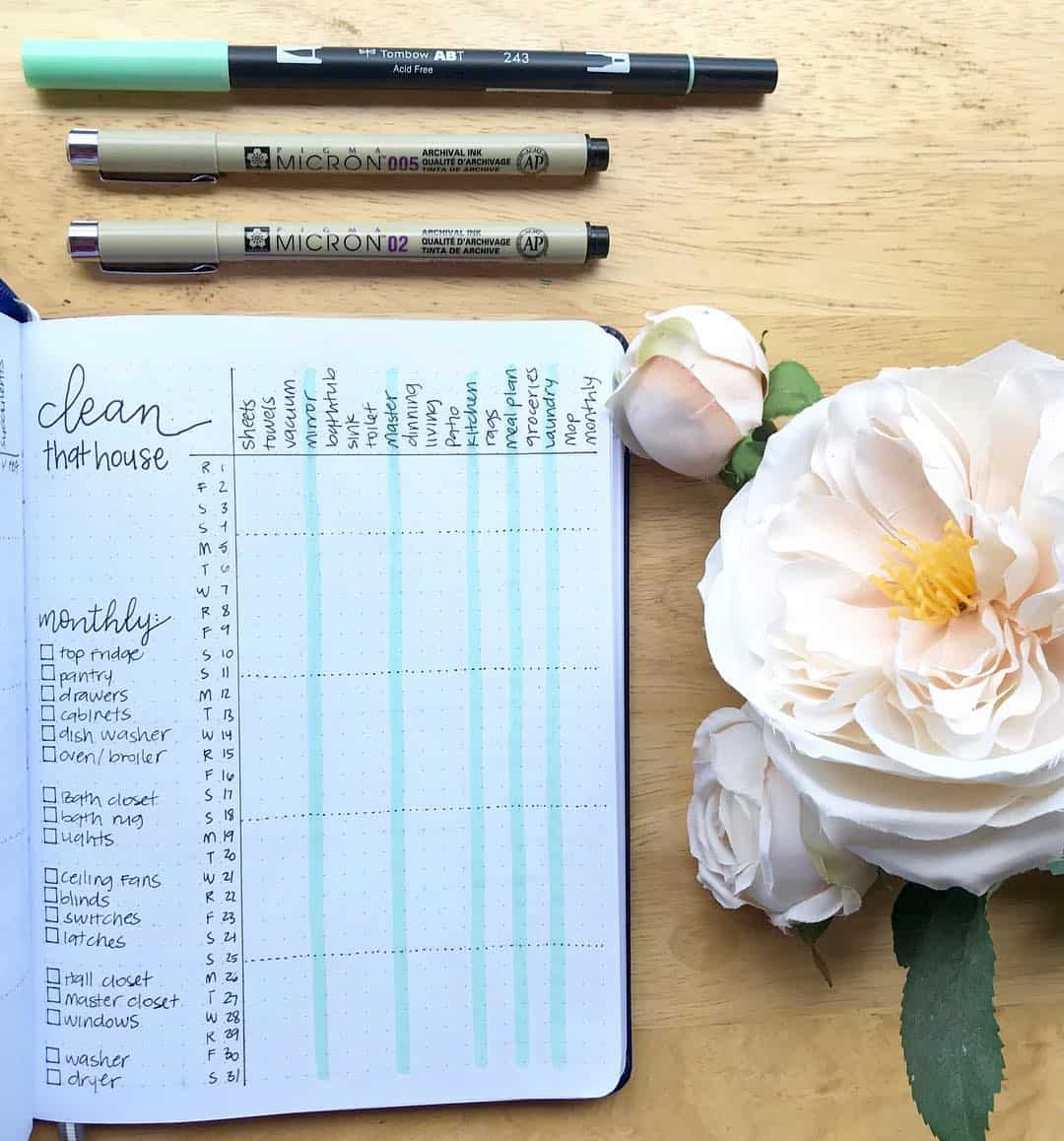 22 bullet journal cleaning schedules to keep your home squeaky clean-monthly tracker