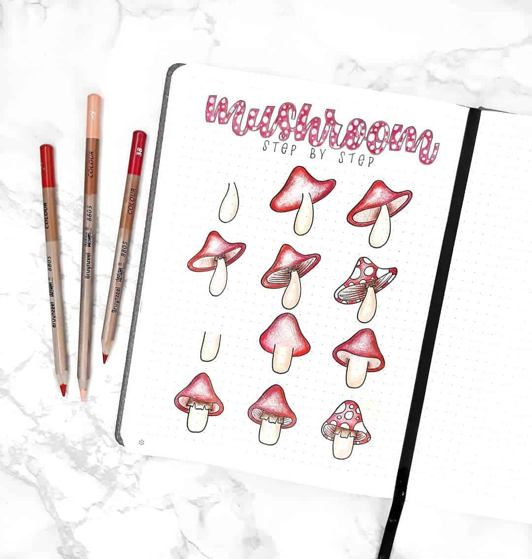 step-by-step bullet journal doodle tutorial - mushroom doodles