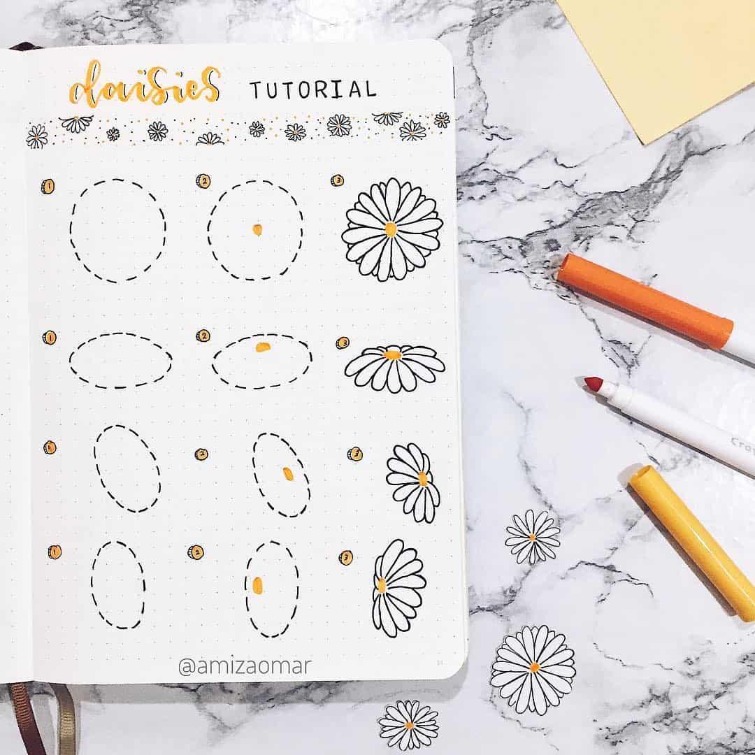 step-by-step bullet journal doodle tutorial - flower doodles