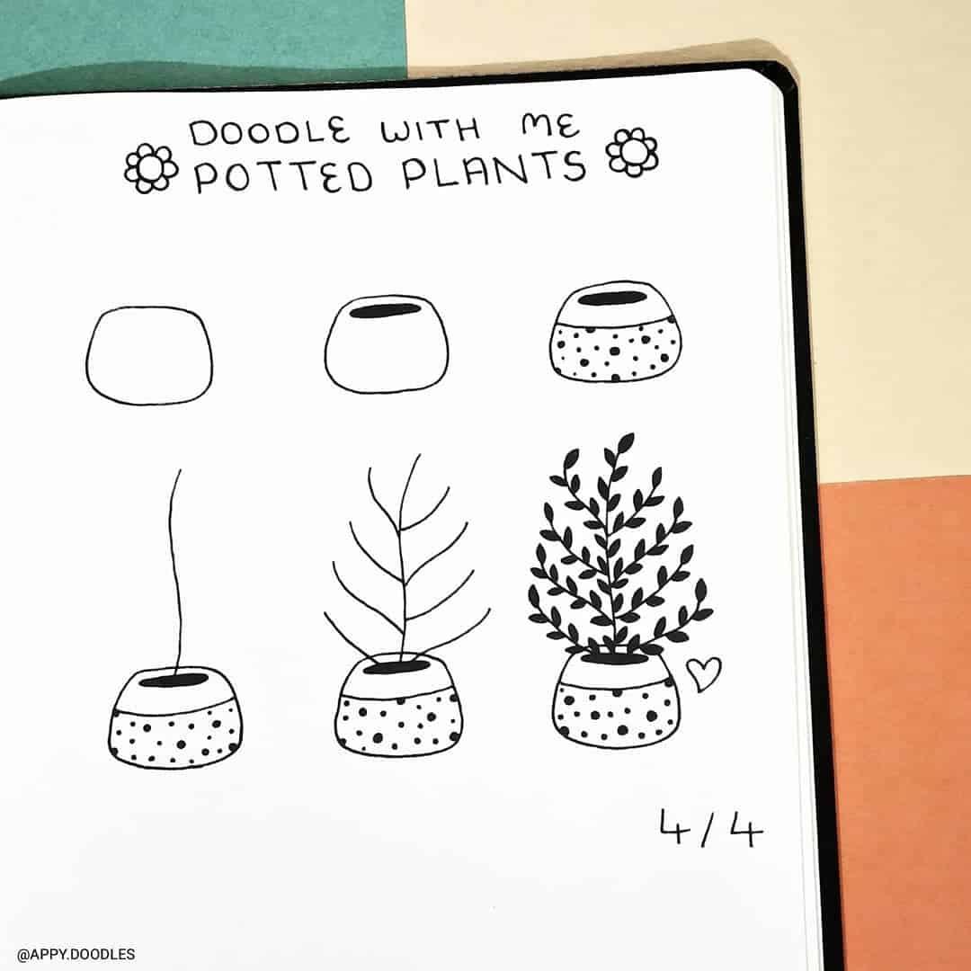 step-by-step bullet journal doodle tutorial - plant doodles