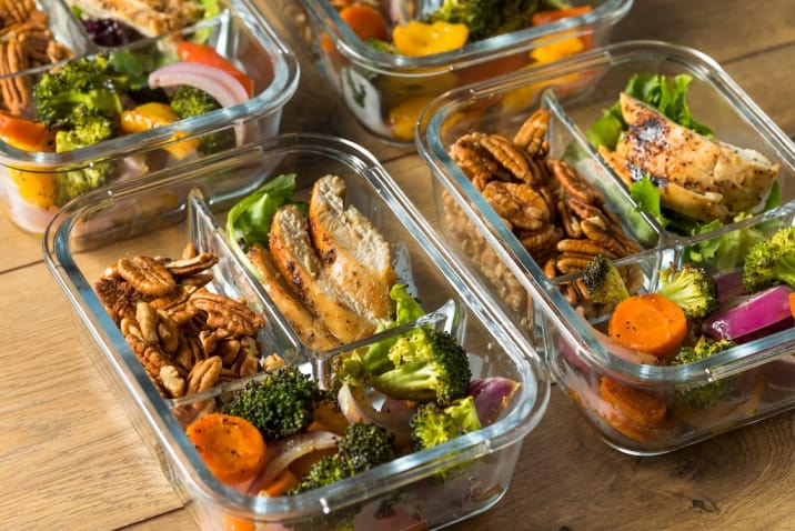 meal prepped in containers - productive sunday habits